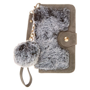 Gray Faux Fur Folio Pom Phone Case,