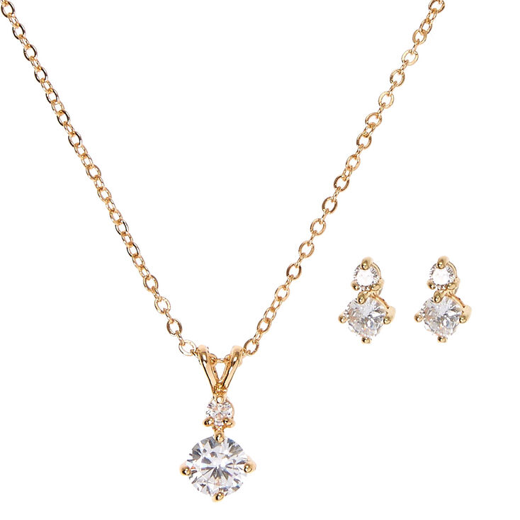 Cubic Zirconia Diamond Drop Pendant Necklace and Earrings Set,