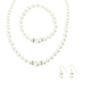 Pearl and Crystal Silver Jewelry Set,