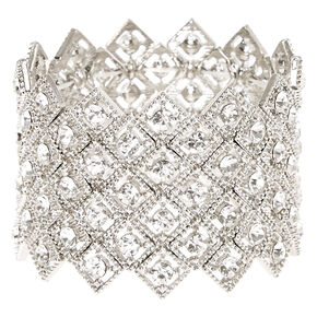 Faux Crystal Art Deco Statement Bracelet,