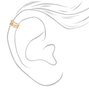Gold-tone Triple Bar Iridescent Faux Crystal Ear Cuff,