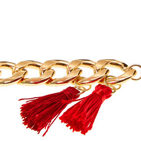 Gold Chain Link with Red Tassels Bracelet,