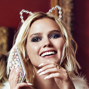 Iridescent Crystal Cat Ears headband,
