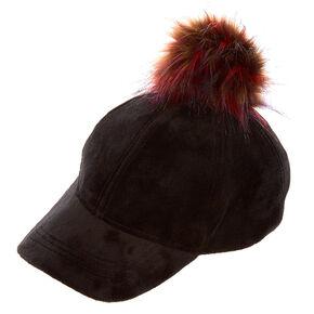 Black Velvet Pom Pom Dad Cap,