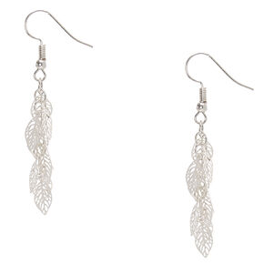 Silver-tone Filigree Leaves Drop Earrings,