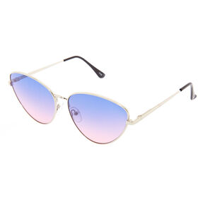 Purple Ombre Cat Eye Metal Sunglasses,
