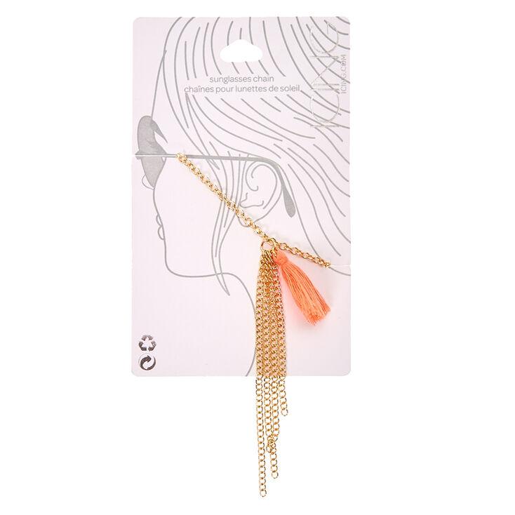 Gold & Peach Tassel Sunglasses Chain,
