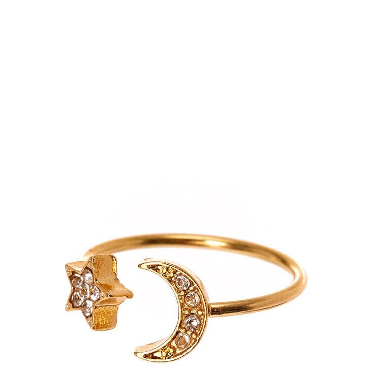 Moon & Stars Pavé Ring,