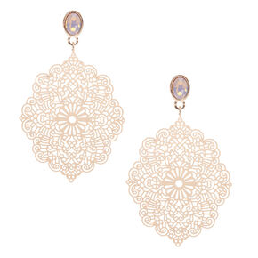 Gold Filigree Drop Earrings,