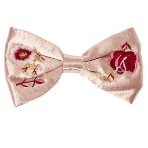 Floral Embroidered Satin Bow Hair Clip,