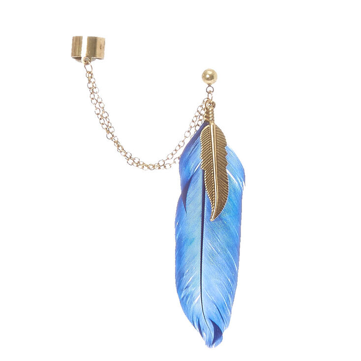 Gold Tone Chain And Blue Feather Ear Cuff,