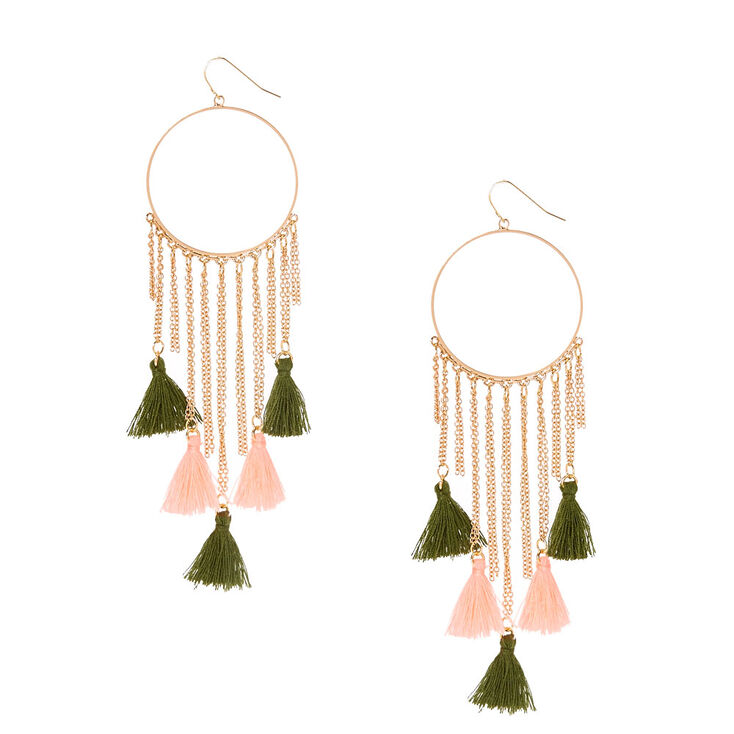 Olive Green & Pink Tassel Chain Hoop Earrings,