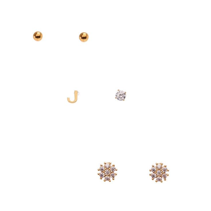 "18k Gold Plated ""J"" Initial Stud Earring Set,"