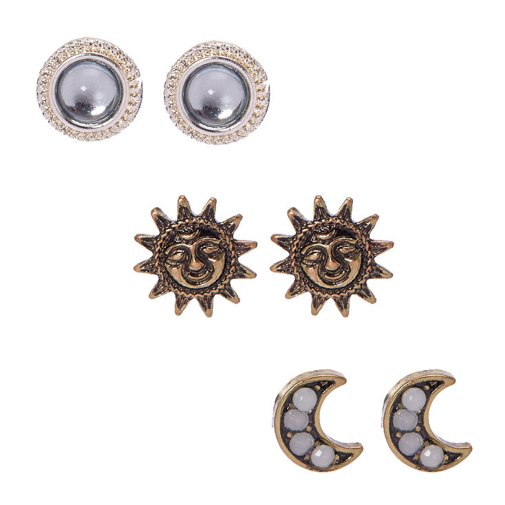 Gold & Silver Tone Celestial Stud Earrings,