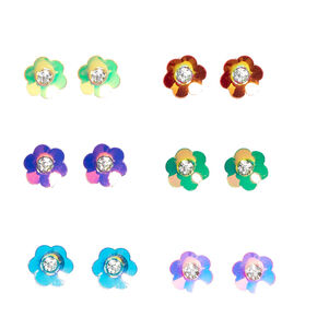 Iridescent Flower Gold-tone Stud Earrings,