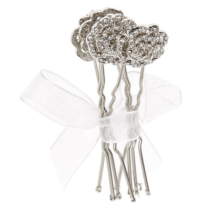 Silver Filigree Rose Bobby Pins,