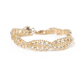 Rhinestone & Beaded Metal Chain Twist Bracelet,