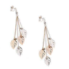 Silver and Gold-tone Leaf Fringe Clip-on Drop Earrings,
