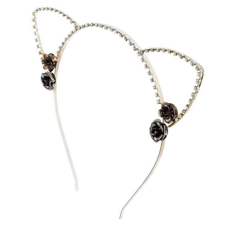 Silver Roses Open Cut Cat Ears Headband,