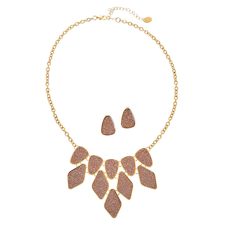 Rose Gold Glitter Tape Statement Necklace & Earrings Set,