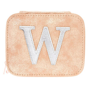 "Blush Pink ""W"" Initial Jewelry Case,"