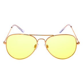 Yellow Tinted Aviator Sunglasses,