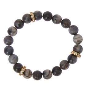 Black Beaded Stretch Karma Bracelet,