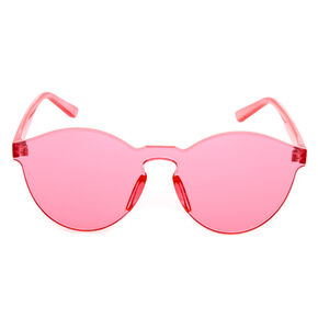 Rimless Pink Tinted Transparent Sunglasses,