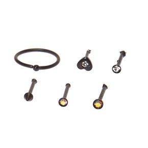 20G Mixed Black Micro Nose Rings,