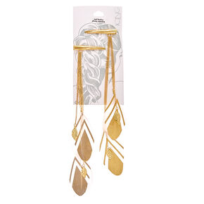 Gold Aztec Dangle Feather Hair Barrettes,