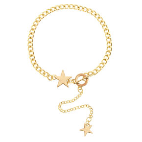 Gold Tone Star Chain Anklet with Toggle Clasp,
