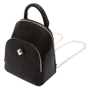 Faux Leather Black Mini Two Way Crossbody Backpack,