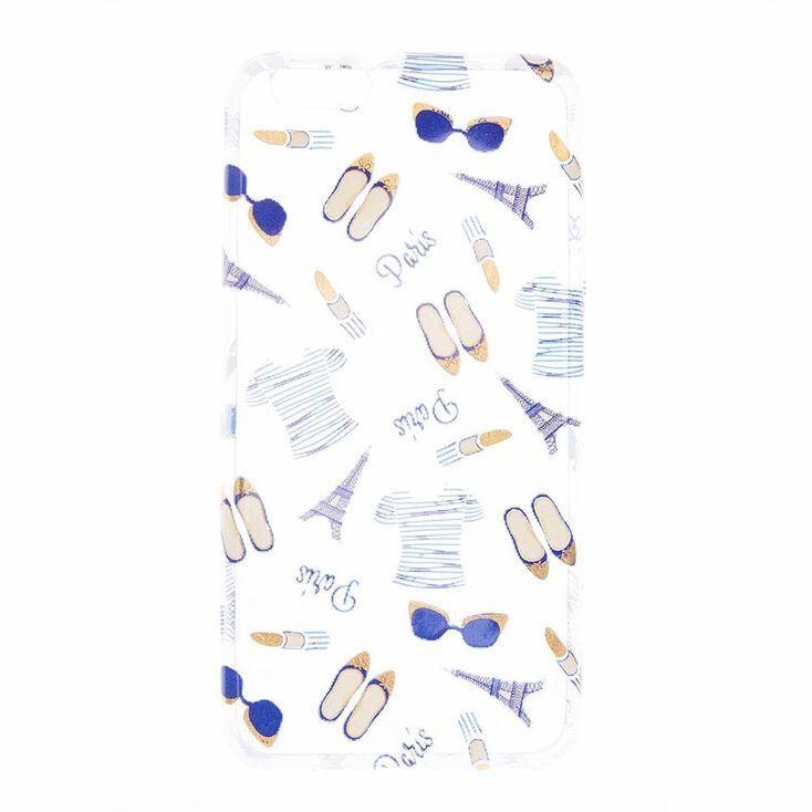 Clear Paris Print Phone Case,