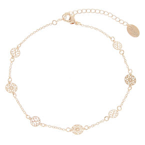 Rose Gold Tone Filigree Disc Anklet,