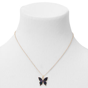 Gold Mood Butterfly Pendant Necklace,