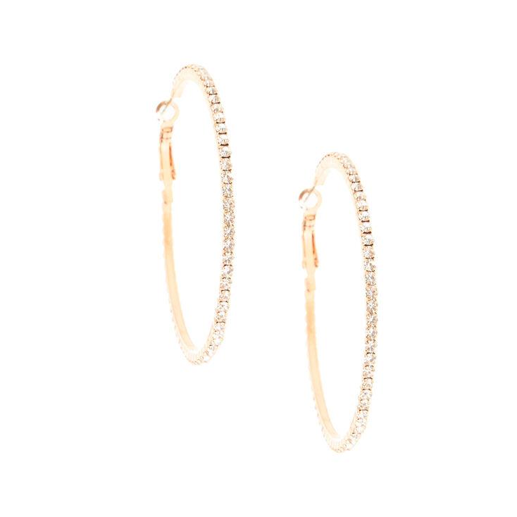 60MM Crystal Lined Rose Gold Hoop Earrings,