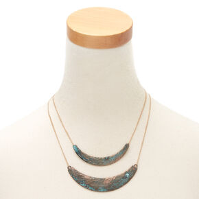 Gold Patina Bar Multi Strand Necklace,