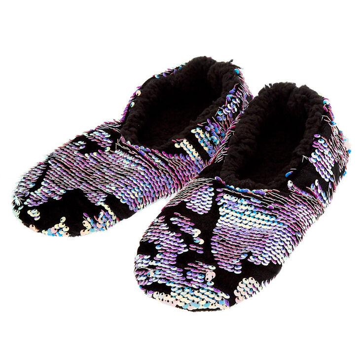 Blue & Purple Reversible Sequin Slippers - Black,