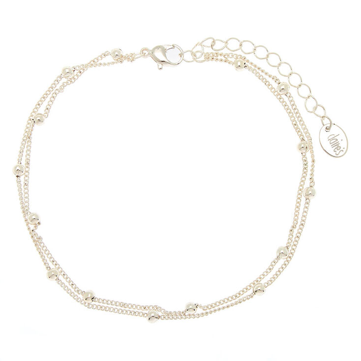 Silver Beaded Layered Anklet,