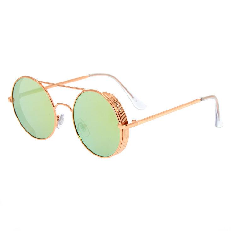 Round Metal Frame Sunglasses - Rose Gold,