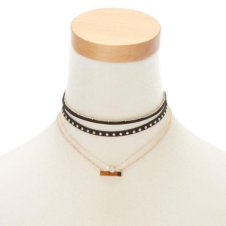 Gold Resin Tortoiseshell Bar Choker Necklaces - 3 Pack,