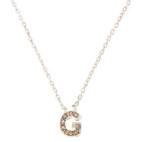 Silver Embellished Initial Pendant Necklace - G,