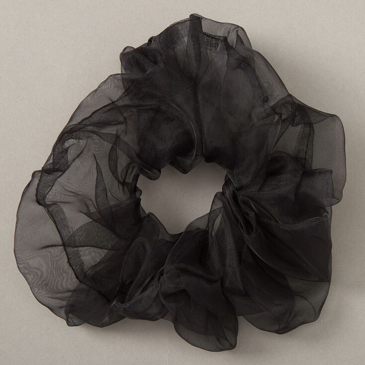 Giant Organza Hair Scrunchie - Black,