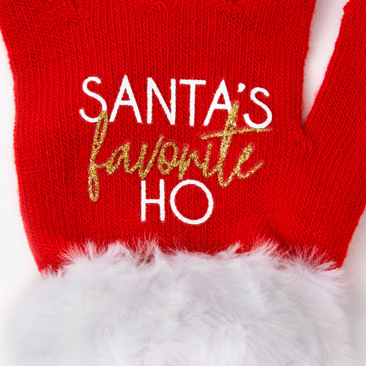 Santa's Favorite Ho Gloves - Red,