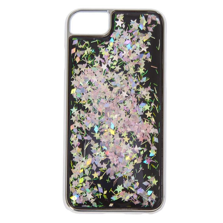 Black Iridescent Glitter Squish Liquid Phone Case - Fits iPhone 6/7/8,