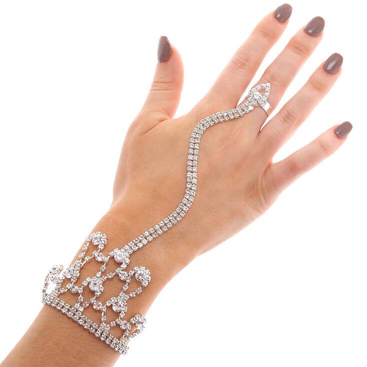 Silver Rhinestone Hand Chain,