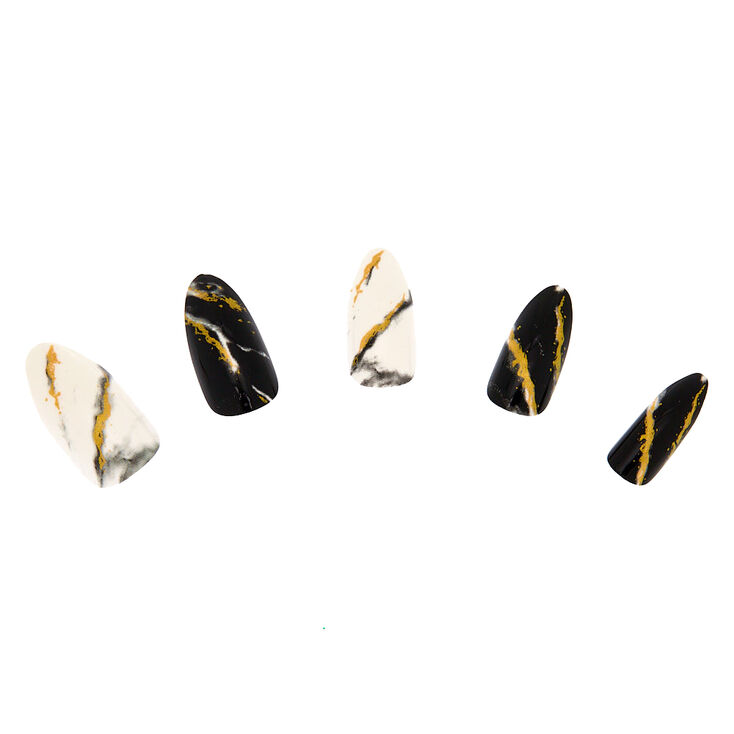 Marble Faux Nail Set - Gold, 24 Pack,