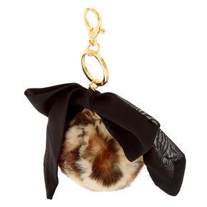Leopard Pom Bow Keychain - Black,
