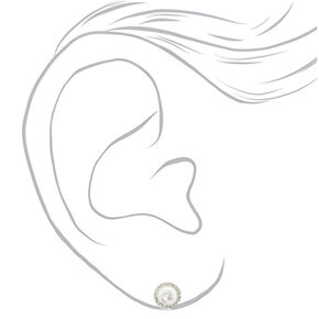 Silver Pearl Clip On Stud Earrings,