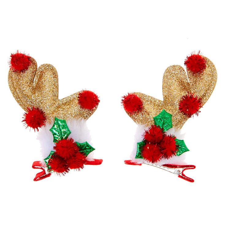 Glitter Reindeer Antler Hair Clips - 2 Pack,